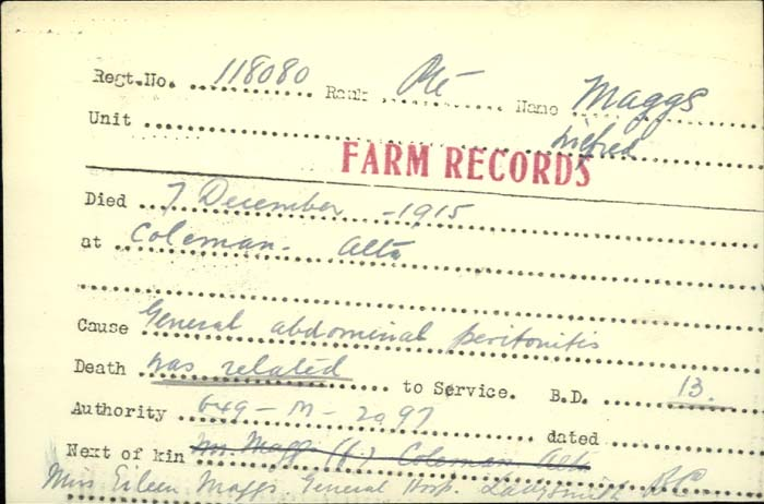 Document – Private Wilfred Maggs 13th Canadian Mounted Rifles dies of peritonitis http://www.collectionscanada.gc.ca/microform-digitization/006003-119.01-e.php?q2=36&q3=2894&sqn=1283&tt=1383&PHPSESSID=je77mok9r8le6eepu366uln590