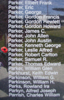 Memorial – Flight Sergeant Leslie Alfred Parker is commemorated on the Bomber Command Memorial Wall in Nanton, AB … photo courtesy of Marg Liessens