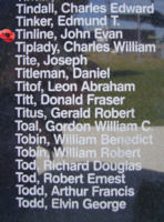 Memorial – Flying Officer John Evan Tinline is commemorated on the Bomber Command Memorial Wall in Nanton, AB … photo courtesy of Marg Liessens