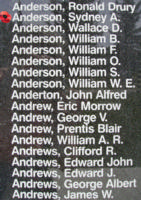 Memorial – Warrant Officer Class II Sydney Andrew Anderson is also commemorated on the Bomber Command Memorial Wall in Nanton, AB … photo courtesy of Marg Liessens