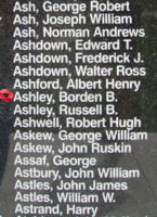 Memorial – Flying Officer Borden Bramshott Ashley is also commemorated on the Bomber Command Memorial Wall in Nanton, AB … photo courtesy of Marg Liessens