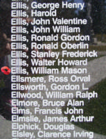 Memorial – Flight Sergeant William Mason Ellis is also commemorated on the Bomber Command Memorial Wall in Nanton, AB … photo courtesy of Marg Liessens