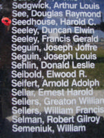 Memorial – Pilot Officer Harold Charles Seedhouse is commemorated on the Bomber Command Memorial Wall in Nanton, AB … photo courtesy of Marg Liessens