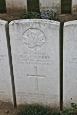 Grave Marker – The grave marker at the Arras Road Cemetery located outside Roclincourt, about 5 kilometres from Canada's Vimy Memorial. May he rest in peace. (John & Anne Stephens 2013)