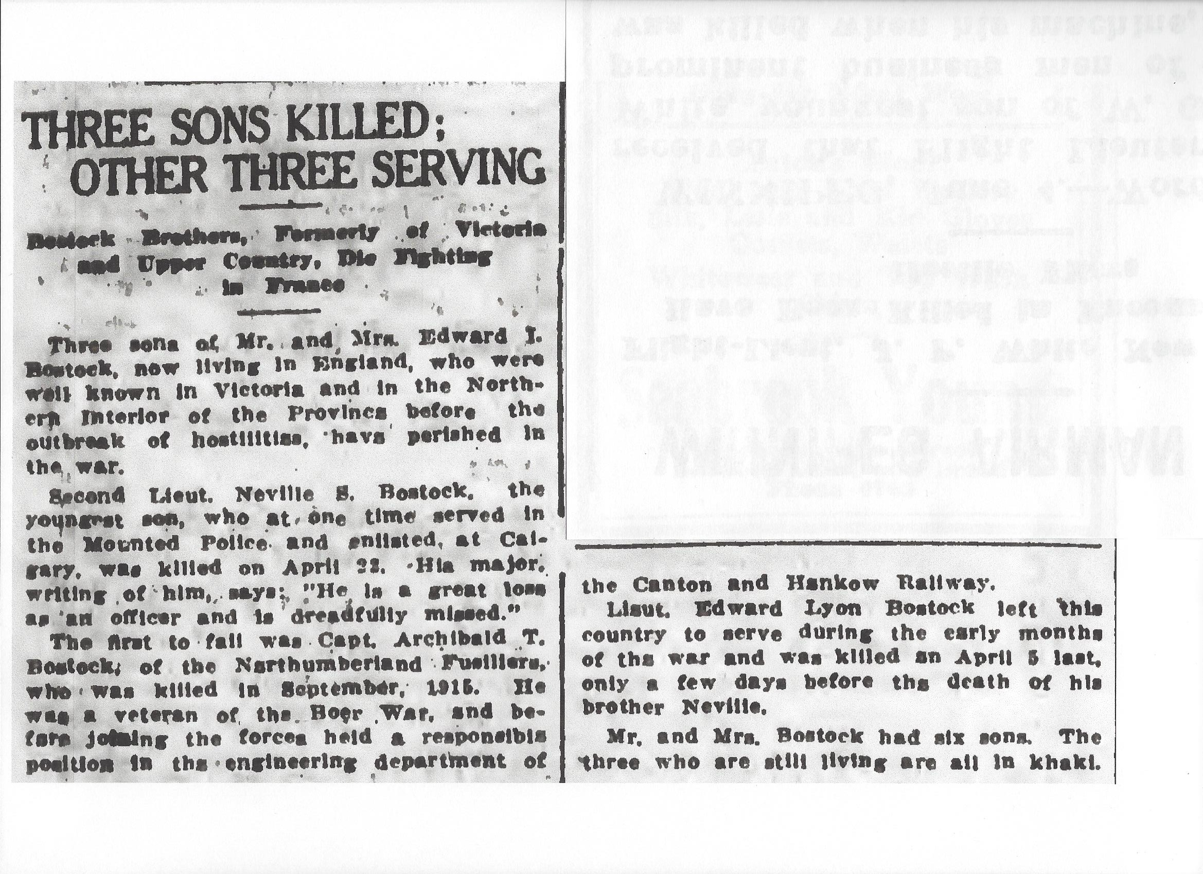 Newspaper clipping – From the Daily Colonist of June 5, 1917. Nevill's brother Archibald Bostock died on September 30, 1915 and is buried at the Etaples Military Cemetery, and his brother Edward died on April 5, 1917 and is buried at the Bray Military Cemetery, Image taken from web address of http://archive.org/stream/dailycolonist59y152uvic#page/n0/mode/1up