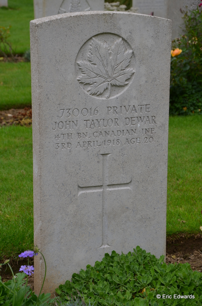 Grave marker – Marker for Private John Taylor Dewar, reg. no. 730016, 4th Battalion, C.E.F. Photo by his Great Nephew, Eric Edwards. Taken September 09, 2015 during a visit to his grave. May he Rest in Peace.