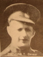 Photo of John Taylor Dewar – In memory of the men and women from the Waterloo area who went to war and did not come home. From the booklet, Peace Souvenir – Activities of Waterloo County in the Great War 1914 – 1918. From the Toronto Public Library collection.  Submitted for the project, Operation: Picture Me.