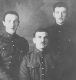 Group Photo – Left to Right:  John Taylor Dewar; service number 730016, unknown, William Robb Dewar; service number 53902. Brothers. Date and location of picture unknown.