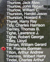 Memorial – Flying Officer Francis Gorman Tilt is commemorated on the Bomber Command Memorial Wall in Nanton, AB … photo courtesy of Marg Liessens