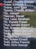 Memorial – Flying Officer Edmund Thomas Tinker is commemorated on the Bomber Command Memorial Wall in Nanton, AB … photo courtesy of Marg Liessens