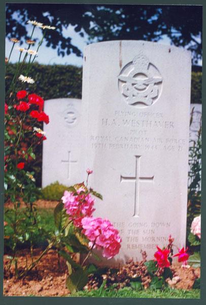 Grave Marker – F.A. Harold Andrew Westhaver K.I.A.