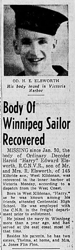 Newspaper clipping – In memory of the men and women memorialized on the pages of the Winnipeg Evening Tribune. Submitted for the project, Operation: Picture Me.