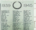 Inscription – Kamloops Cenotaph, British Columbia. Detail of the Tablet listing names for World War II.