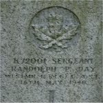 Grave marker – Grave stone of Randolph Percy Day of the Westminster Regiment(Motor) who died while in the service of Canada on May 16th 1940 Age 54. Buried in the Fraser View Cemetery in New Westminster BC.
