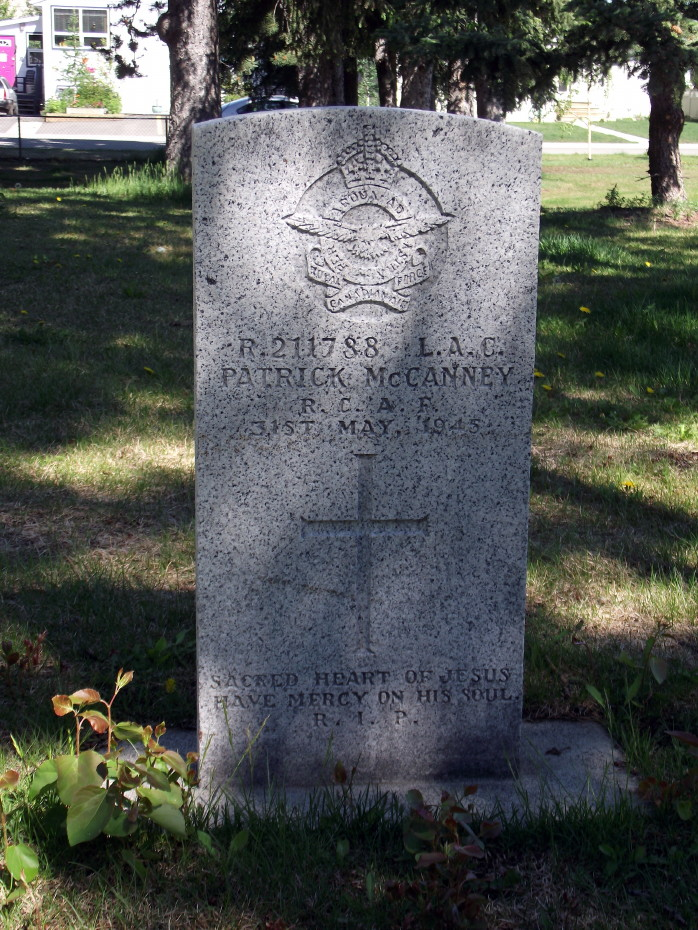 Grave Marker – Patrick McCanney's headstone in the Pioneer Cemetery at Whitehorse, Yukon.