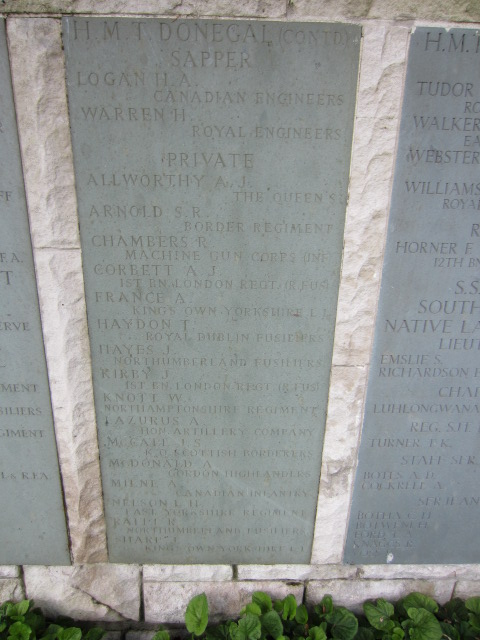 Inscription – Panel on the Hollybrook Memorial showing Sapper Logan's name