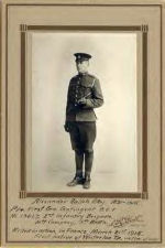 Photo of Alexander Ralph Eby – Alexander Ralph Eby, 1891-1915. Pte. First Can. Contingent B.E.F. No. 13627, 2nd Infantry Brigade, 4th Company, 5th Batt'n. Killed in action, in France, March 21st 1915. First native of Waterloo Tp. victim of war. The photographer, Levi R. Yost, operated a photography studio at 175 King Street West in Berlin, Ontario, from 1915 to 1920. His studio was located at 12 King Street West, Berlin in 1912.