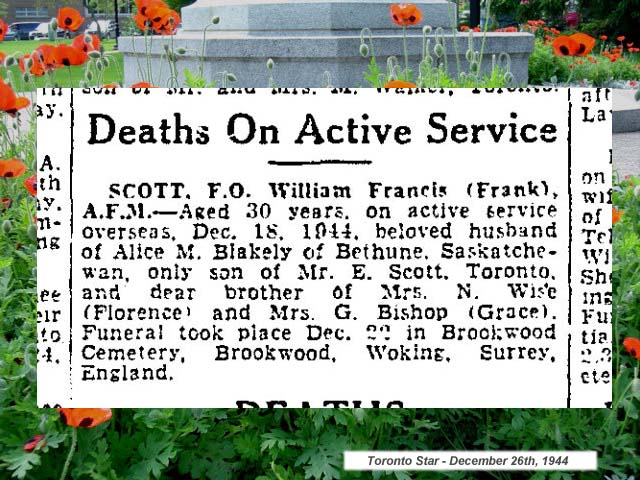 "Newspaper Clipping – ""Deaths on Active Service"" - newspaper column."