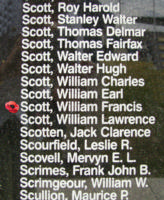Memorial – Flying Officer William Francis Scott is commemorated on the Bomber Command Memorial Wall in Nanton, AB … photo courtesy of Marg Liessens