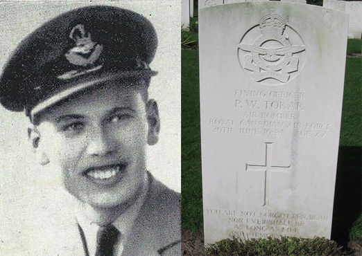 Photo of Paul William Tokar – Flying Officer Paul Tokar, 22, was one of six Canadian men on board a Wellington bomber on a navigational training exercise over Northamptonshire when the plane was struck by lighting and exploded. The six men were killed instantly. Also on board were Robert Andrews, 21, from Toronto; Charles Stephen, 30, from Montreal; William Clark, 22, from Washago; Allan MacKimmie, 18, from Bentley, Alta.; and John Sollie, 23, from Port Colquitlam, B.C.