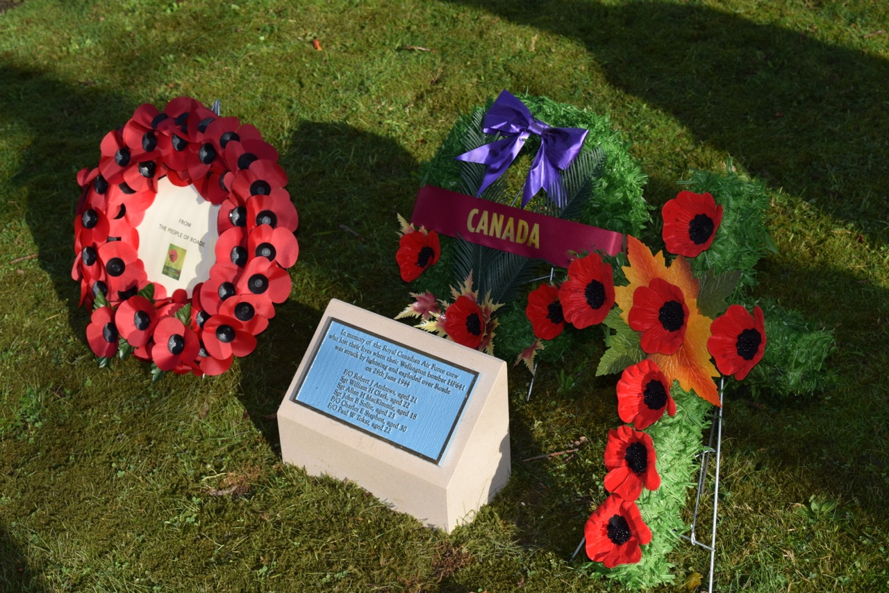 Memorial – On 9th November 2014, a Canadian Bomber Crew Memorial, was dedicated on Roade Memorial Green, Tal-y-Bont, Brecon Beacons, Wales to the six RCAF men who lost their lives when their Wellingtonbomber exploded over Roade 70 years previously. On July 6, 1942 a Wellington Bomber took off from the Operational Training Unit at Wellesbourne Mountford, near Stratford-upon-Avon, for a cross-country training exercise. In dense cloud the pilot decided to descend from his advised level of 10,000 feet to try and fix his position. He hit the summit of Waun Rydd. The crew were only 30 metres or so from clearing the wide plateau at the top of the mountain.