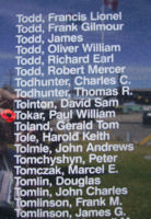 Memorial – Flying Officer Paul William Tokar is commemorated on the Bomber Command Memorial Wall in Nanton, AB … photo courtesy of Marg Liessens