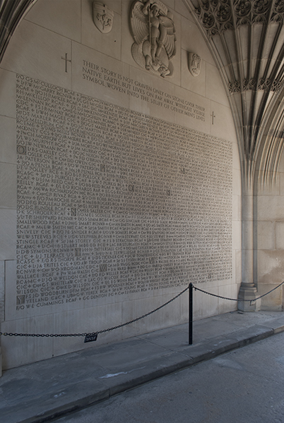 "Memorial Arch – The names of those who died in the Second World War were added to the archway beneath the Soldiers' Tower in 1949. The name of ""Lt E. V. POLLEY R.C.E."" is among the names inscribed. Photo: Cody Gagnon, courtesy of Alumni Relations."