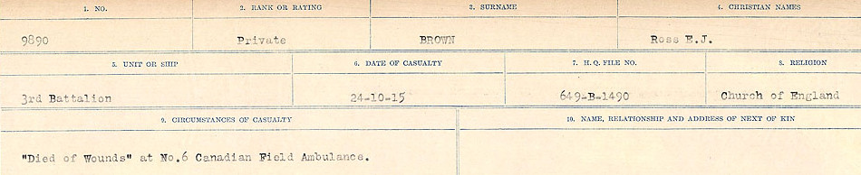 Death Registry – Source: Library and Archives Canada.  CIRCUMSTANCES OF DEATH REGISTERS FIRST WORLD WAR Surnames: Broad to Broyak. Mircoform Sequence 14; Volume Number 31829_B016723; Reference RG150, 1992-93/314, 158 Page 889 of 1128