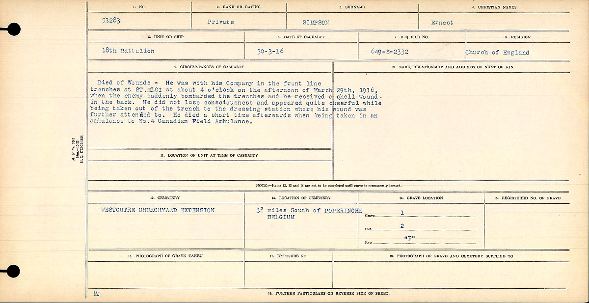 Circumstances of Death Registers – Received a shell wound in his back at St. Eloi. Did not lose consciousness but later died at No. 4 Canadian Field Ambulance.jpg http://www.bac-lac.gc.ca/eng/discover/mass-digitized-archives/circumstances-death-registers/Pages/item.aspx?PageID=82441