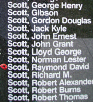 Memorial – Pilot Officer Raymond David Scott is commemorated on the Bomber Command Memorial Wall in Nanton, AB … photo courtesy of Marg Liessens