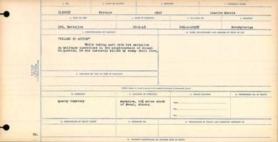 Circumstances of death registers – Private Charles Morris Gray