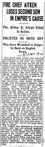 Newspaper Clipping – Source: London Advertiser 1918