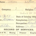 Record of Service – Record of Service Card (front side).  Submitted by permission 48th Highlanders of Canada Regimental Museum by 15th Bn Memorial Project Team.