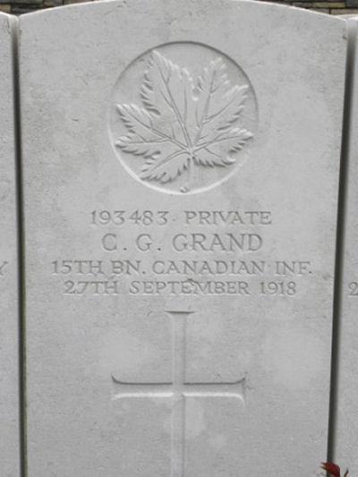 Grave marker – Gravemarker. Photo BGen G. Young 15th Battalion Memorial Project Team   DILEAS GU BRATH.