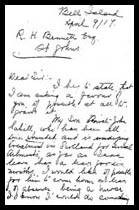 Letter to R.H. Bennett - page 1 – Martin Cahill has died at this point, as mentioned in this letter. In this correspondence to military officials, his mother, Mary Ellen (Cahill) Sweeney, asks to have John, her other son, released into her care, after being wounded.