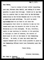 Letter (reply) – This is the reply from the Colonial Secretary to Mary Ellen Cahill's letter.