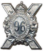 Badge – Cap Badge 96th Bn (Canadian Highlanders). Pte Agar originally enlisted with this Saskatoon unit but was sent to the 15th Bn as a reinforcement. Submitted by Capt (ret'd) V. Goldman 15th Bn Memorial Project.  DILEAS GU BRATH