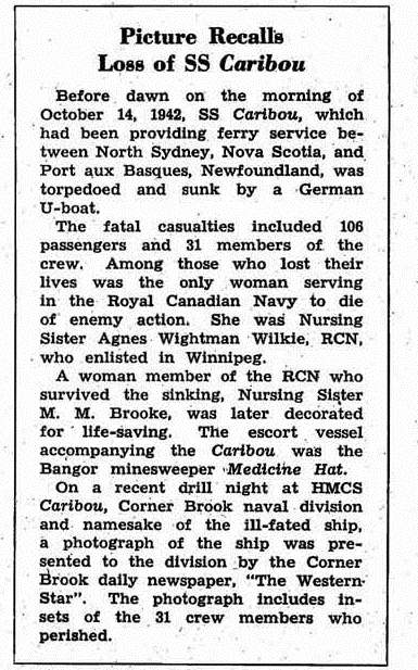 Newspaper Clipping – This item appeared in the March 1954 issue (at page 4) of the Crowsnest, the magazine of the Royal Canadian Navy.  (Submitted by Navy League Cadet Corps CHAMBLY, Barrie, Ontario.)