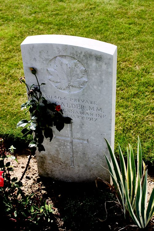 Grave Marker – The grave marker at the Canadian Cemetery No. 2 is located by the grounds of Canada's Vimy Memorial. The cemetery is about 6 kilometres north of Arras, France. May he rest in peace. (John & Anne Stephens 2013)