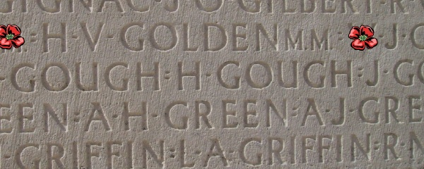Inscription – Private Herbert Victor Golden is also commemorated on the Vimy Memorial ... Inscription - Vimy Memorial - August 2012 … Photo courtesy of Marg Liessens