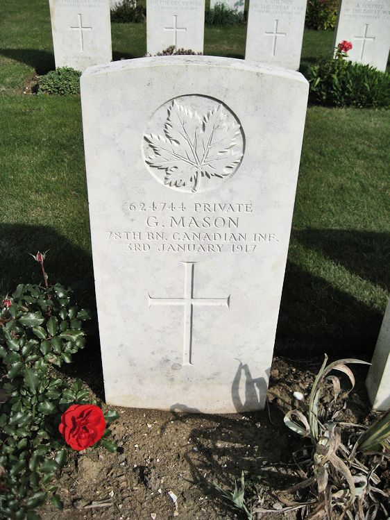 Grave Marker – The grave marker at the Canadian Cemetery No. 2 is located on the grounds of Canada's Vimy Memorial. The cemetery is about 6 kilometres north of Arras, France. May he rest in peace. (John & Anne Stephens 2013)
