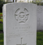 Grave Marker – Grave of Pilot Officer Leslie Wallace Harvey at the Nederweert War Cemetery in the Netherlands.