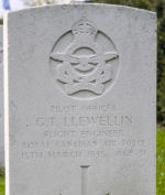 Grave Marker – Grave of Pilot Officer George Tucker Llewellin at the Nederweert War Cemetery in the Netherlands.