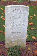 Grave Marker – The grave marker at the Thelus Military Cemetery located at the foot of Vimy Ridge, just outside of Thelus, France. May he rest in peace. (J. Stephens 2010)