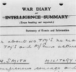 War Diary – 5th Battalion, Canadian Mounted Rifles. War Diary for November 1916, page 5, recording honours citation for Captain T.D. Sneath.