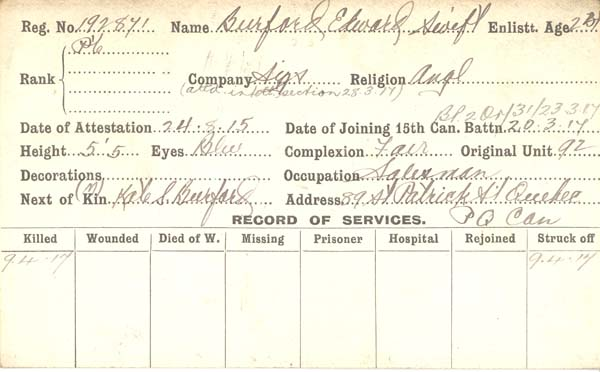 Record of Service – Record of Service Card (front only).  Submitted by 15th Bn Memorial Project Team.  DILEAS GU BRATH
