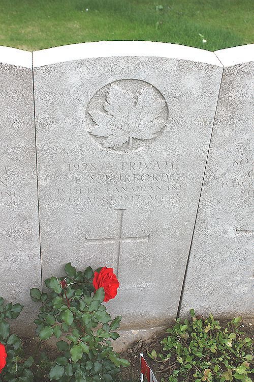 Grave marker – The grave marker at the Nine Elms Cemetery located outside Roclincourt, France. It is located about 5 kilometres from Canada's Vimy Memorial. May he rest in peace. (John & Anne Stephens 2013)