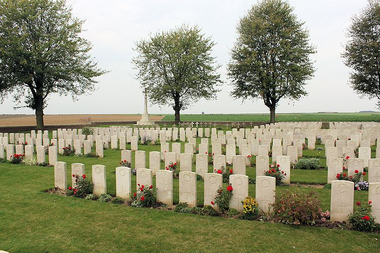 Nine Elms Military Cemtery – Nine Elms Cemetery – The Nine Elms Cemetery, located at Roclincourt, France. It is about 5 kilometres from Canada's Vimy Memorial in France. (John & Anne Stephens 2013)