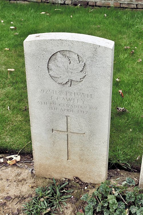 Grave Marker – Grave Marker – The grave marker at the Nine Elms Cemetery located outside Roclincourt, France. It is located about 5 kilometres from Canada's Vimy Memorial. May he rest in peace. (John & Anne Stephens 2013)
