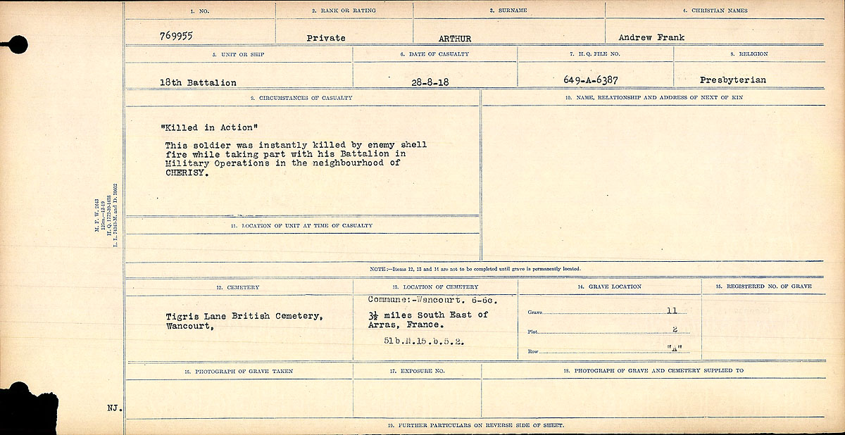 """Circumstances of Death Registers – Circumstances of Death Register: """"Killed in Action"""" This soldier was instantly killed by enemy shell fire while taking part with his battalion in the Military Operations in the neighbourhood of CHERISY."""